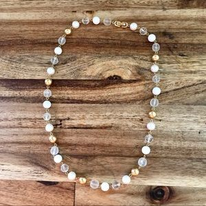 LOFT Gold and White Bead Necklace
